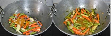 preparing godhumai ravai sambar sadam