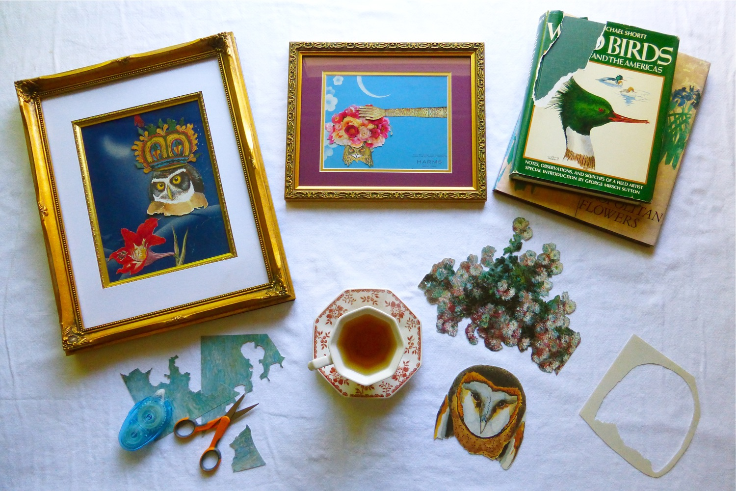 #worldcollageday, collage art by June Anderson, June Anderson's collage art, owl collage art by June Anderson, June Anderson of Under The Plum Blossom Tree, cut up old books for collage