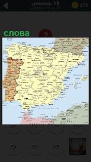 Карта Испании и написанные слова, обозначения населенных пунктов