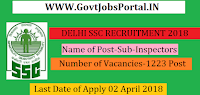 Delhi Staff Selection Commission CPO Recruitment 2018 – 1223 Sub-Inspectors