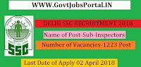 Delhi Staff Selection Commission CPO Recruitment 2018 – 1223 Sub-Inspectors