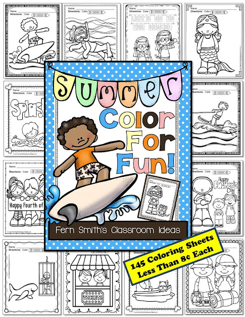 Fern Smith's Classroom Ideas Freebie Friday's FREE Color For Fun Summer Printable at TeachersPayTeachers.