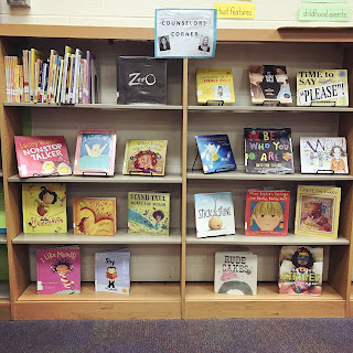 A photo of our counselor corner created in collaboration with school libraian