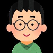 眼鏡をかけた男性のイラスト(丸メガネ)