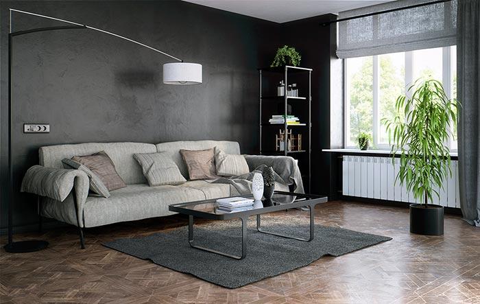 siyah ve sade oturma odası tasarımı