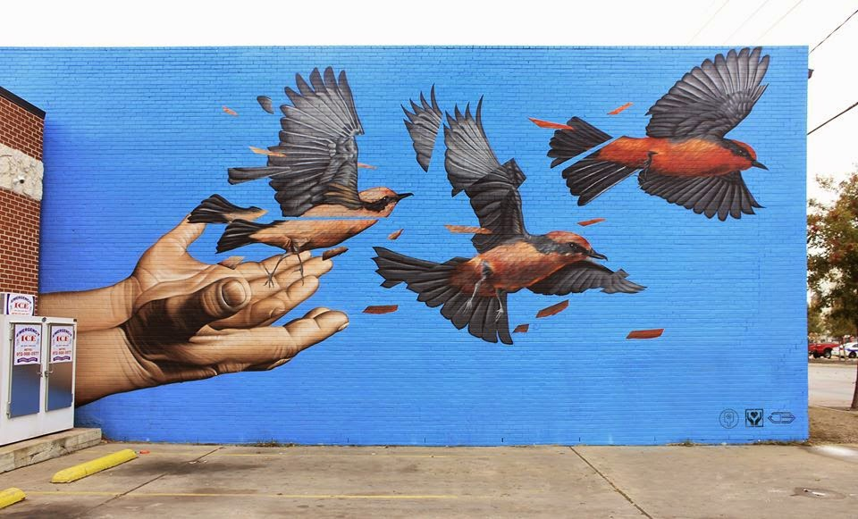 James Bullough is currently in Texas where he was invited by the Handle With Care project to paint a new piece on the streets of Dallas.