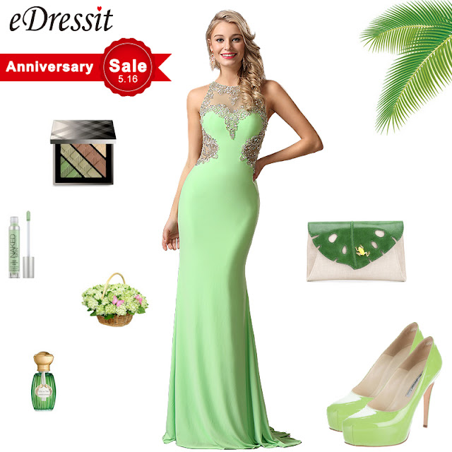 sleeveless light green gown with beaded bodice