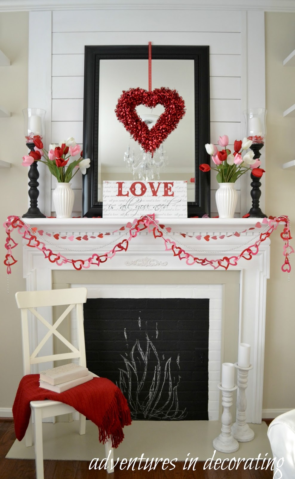Adventures in decorating our sitting room valentine mantel - Valentine day room decoration ...
