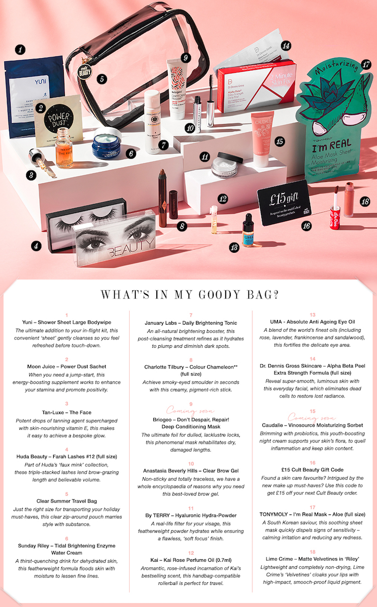 Here are the contents of the Cult Beauty Summer Goody Bag