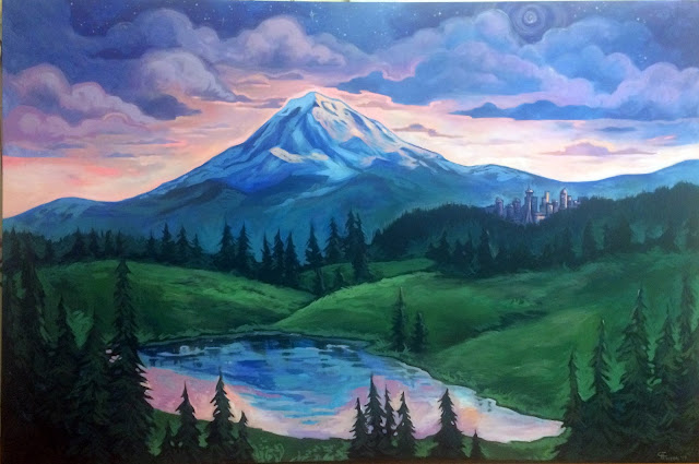 mount rainier painting, seattle painting, mt rainier painting, seattle skyline painting, blacklight painting
