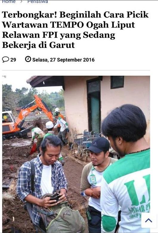 Klarifikasi Kesalahpahaman Pemberitaan Wartawan Yang di Sangka Dari Tempo , Ogah Liput Relawan FPI yang Sedang Bekerja di Garut