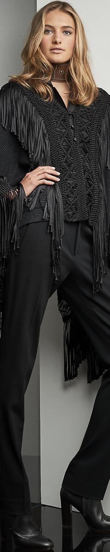 Ralph Lauren Fringed Silk Poncho
