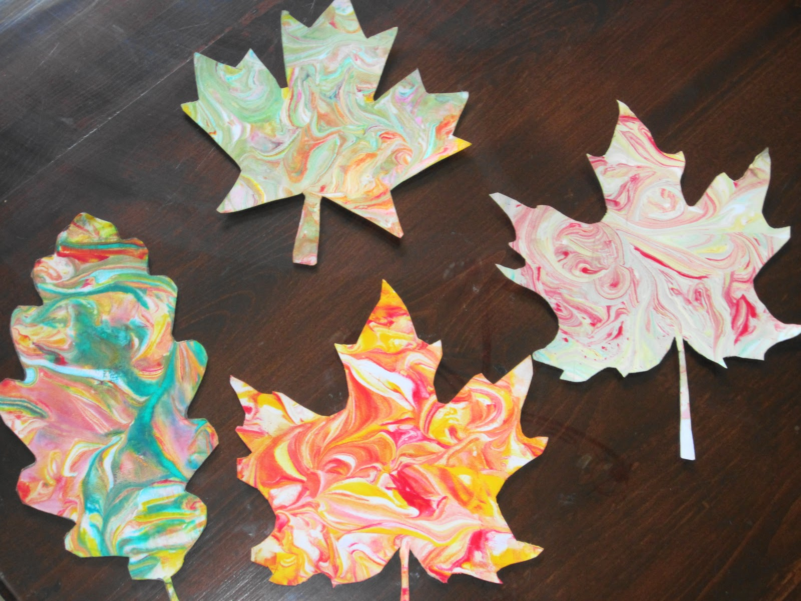 Teaching With Tlc Create Marbled Fall Leaves With Shaving Cream