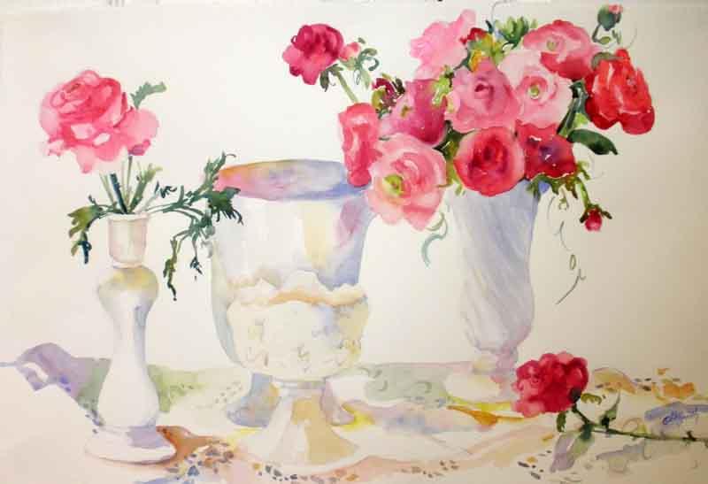 KaySmithBrushworks: Shabby Chic Roses still life