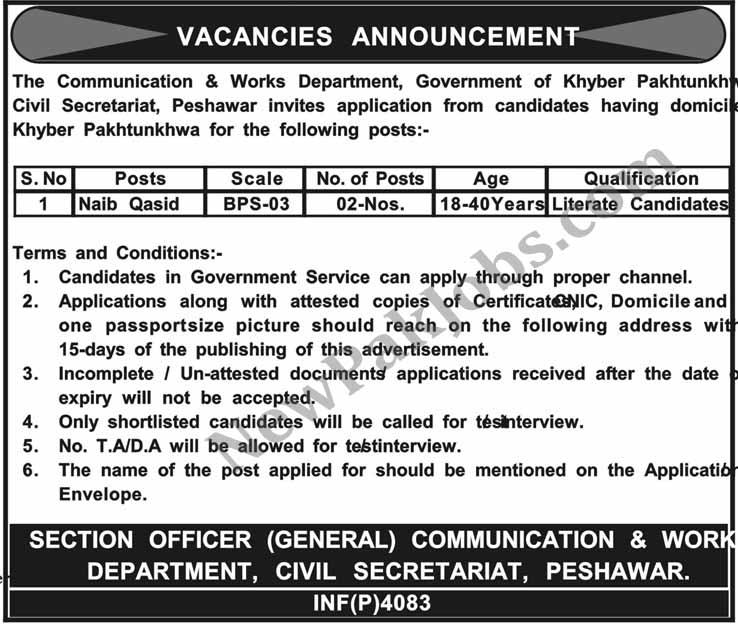 Naib-Qasid-jobs-for-Primary-pass-in-peshawar-26-oct-2018