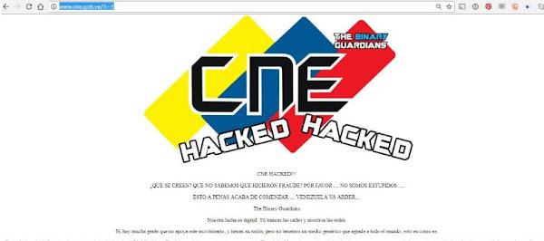 Hackeada la página web del CNE