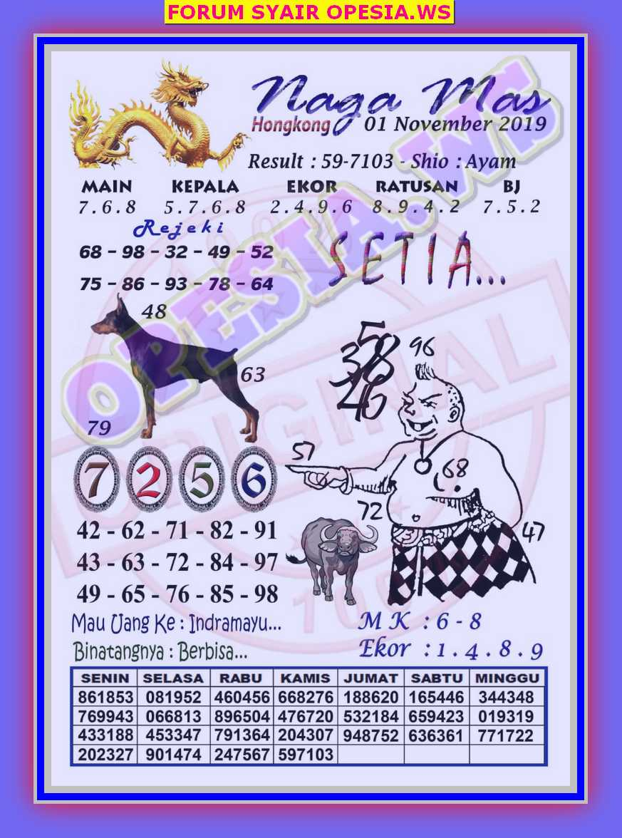 Kode Syair Hongkong 1 November 2019 Forum Syair Togel