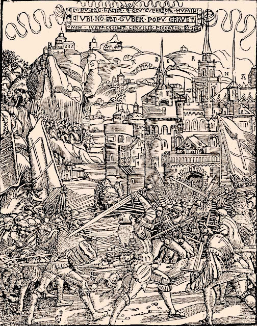 Esmagamento dos 'rústicos' (gravura de Gabriel Salmon ilustrando o livro Nicolas Volcyr de Serrouville, 1526) As desordens morais e religiosas protestantes degeneraram no caos religioso, social e econômico com conseguintes revoltas populares que Lutero mandou afogar no sangue.