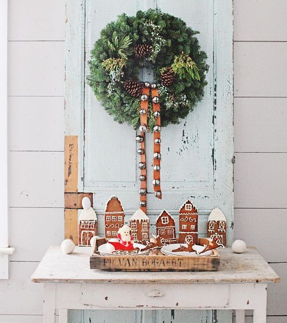 Charming gingerbread house cookie village romantic Farmhouse Christmas holiday decorating shabby chic