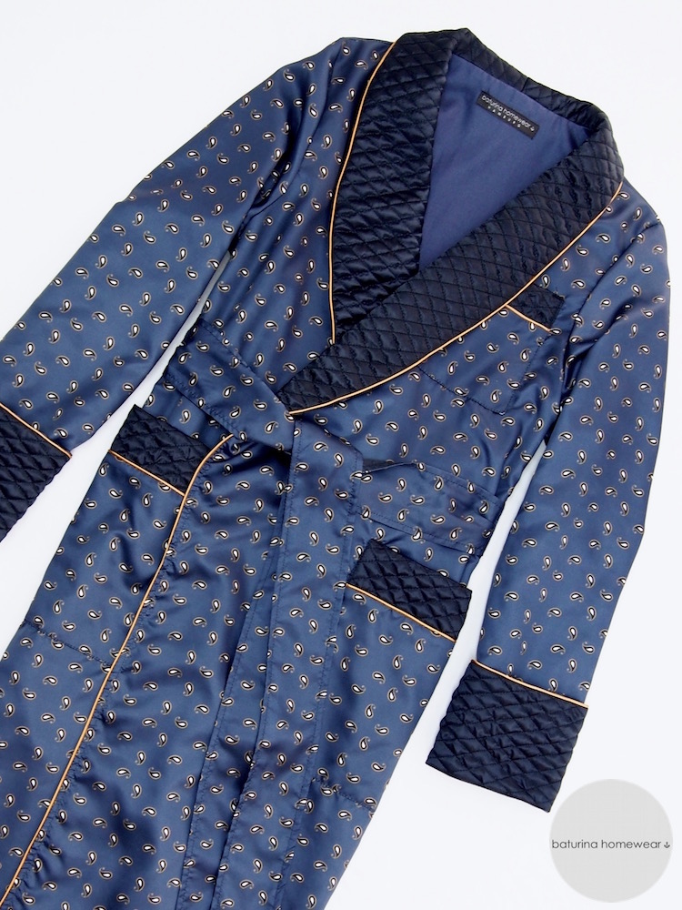 Dark Blue Paisley Silk Men\'s Dressing Gown