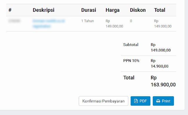 melihat detail pembayaran untuk perpanjang domain