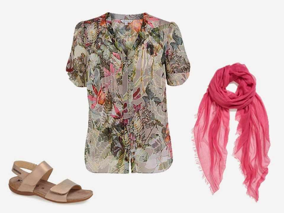 subtle floral blouse, neutral sandals and a pink scarf