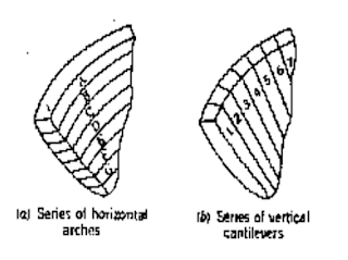 Series of horizontal arches and vertical cantilevers
