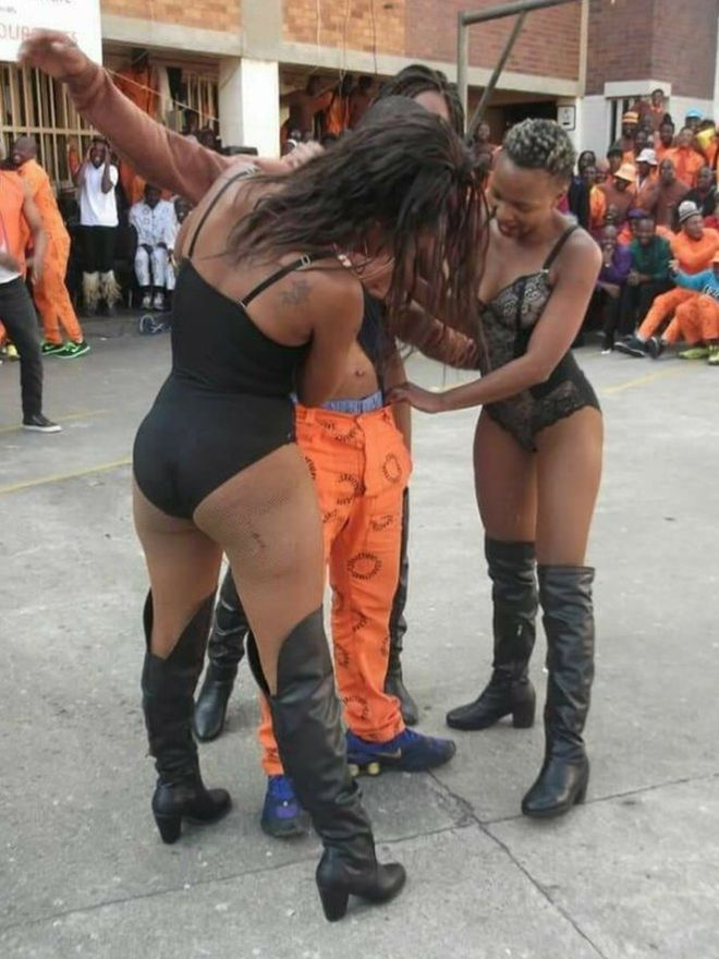 South Africa prisoners entertained by 'strippers'