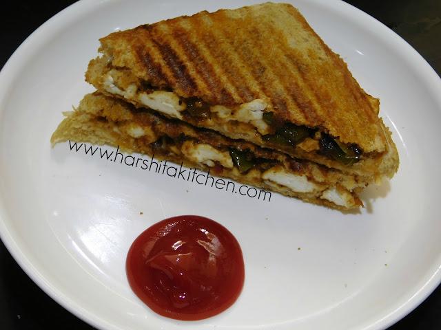 grilled paneer sandwich recipe