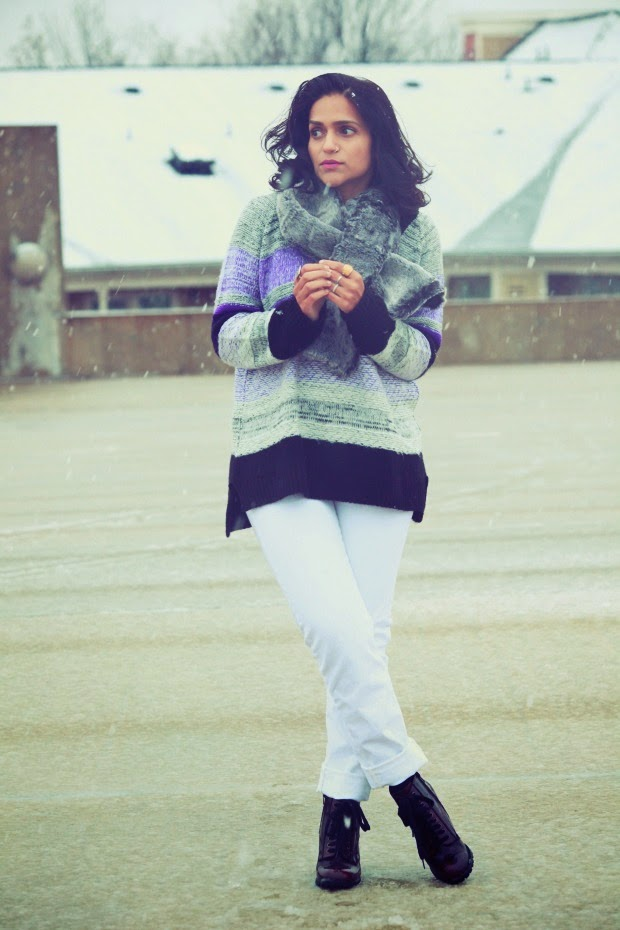 Sweater - ASOS Jeans - GAP Boots - Steve Madden Neck Wrap - From Scotland Rings - From Jaipur, India, Tanvii.com
