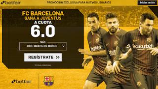 betfair supercuota 6 victoria de Barcelona a Juventus champions 12 Septiembre