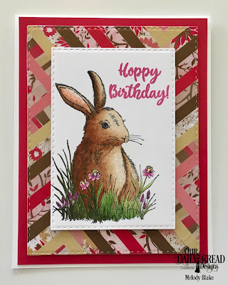 Our Daily Bread Designs Stamp Set; Hoppy Birthday, Custom Dies: Double Stitched Rectangles, Paper Collection:Beautiful Blooms