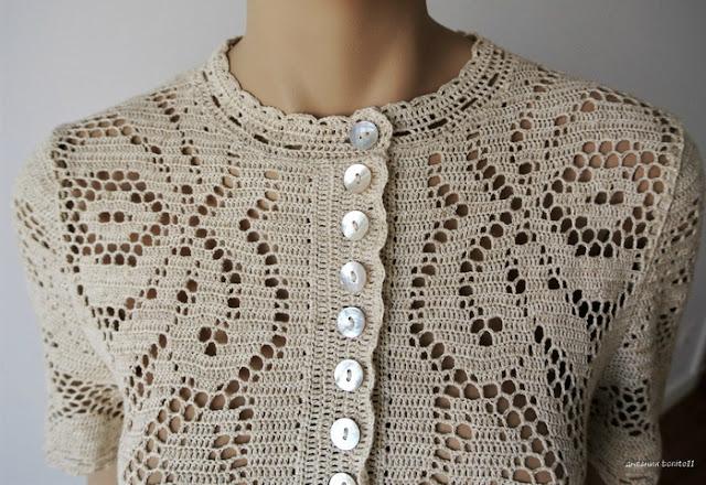 wzór sukienki szydełkowej filetem