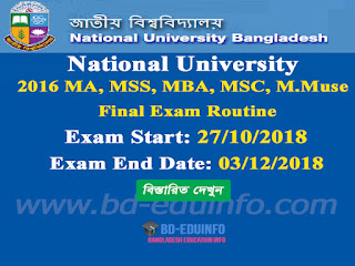 National University (NU) 2016 MA, MSS, MBA, MSC, M.Muse Final Exam Routine