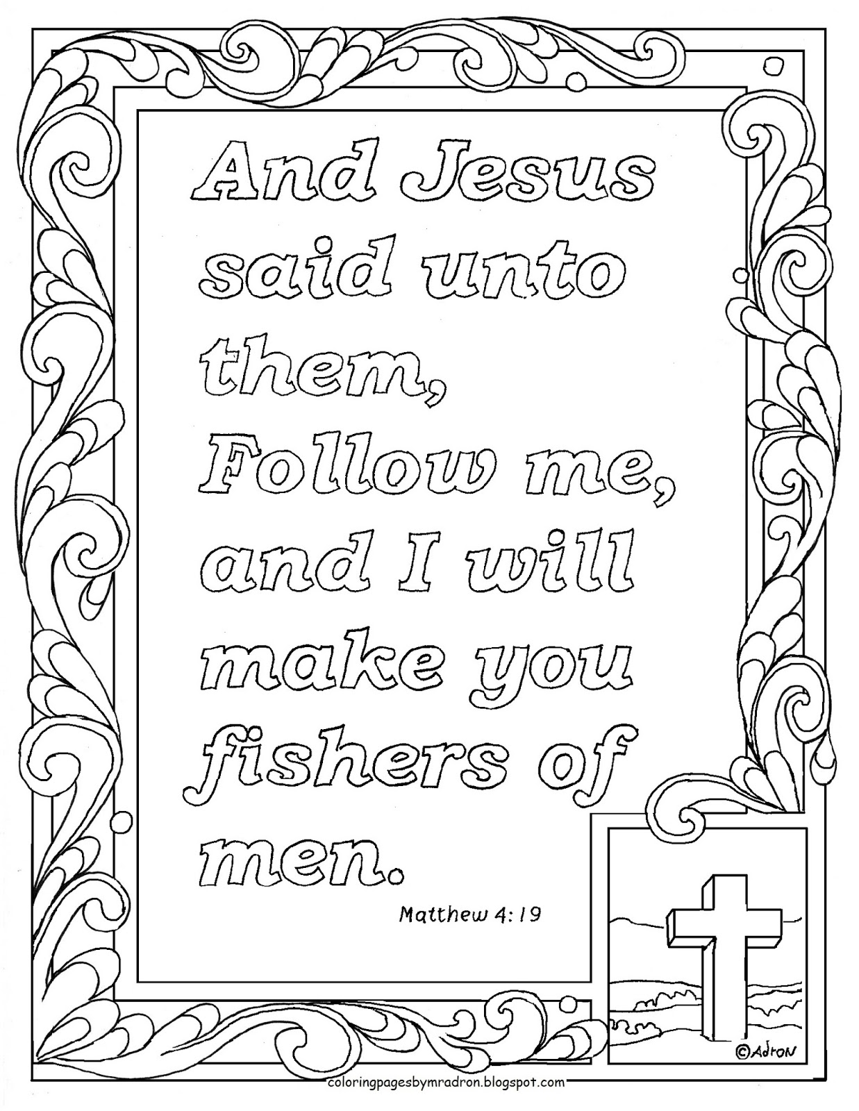 Matthew 419 Print And Color Page Follow Me I Will Make You Fishers Of Men Verse