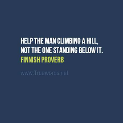 Help the man climbing a hill, not the one standing below it.