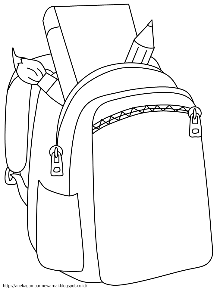 Gambar Mewarnai Tas Sekolah Untuk Anak PAUD dan TK 1