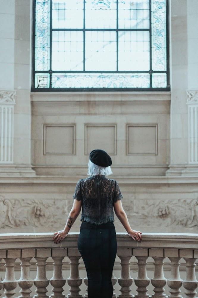 look classy rock fashion beret chic tenue outfit mode Lille Beaux Arts Musée