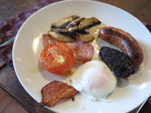 Full English Breakfast with poached egg