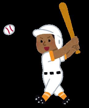 野球選手のイラスト(女性・黒人)