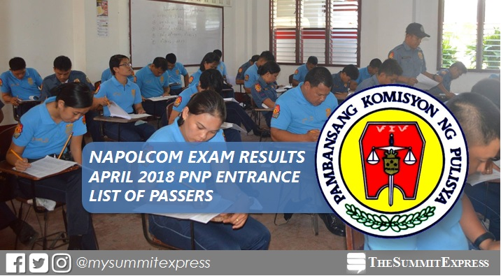 LIST OF PASSERS: PNP Entrance April 2018 NAPOLCOM exam result