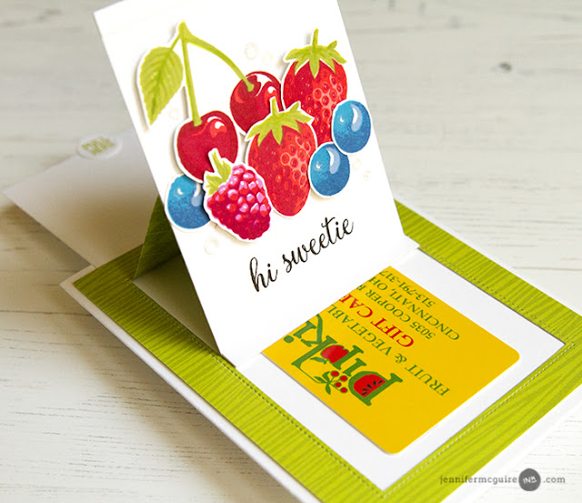 Sunny Studio Stamps: Sliding Window Strawberry, Cherry, Raspberr & Blueberries Pop-up Card with Berry Bliss Stamps by Jennifer McGuire