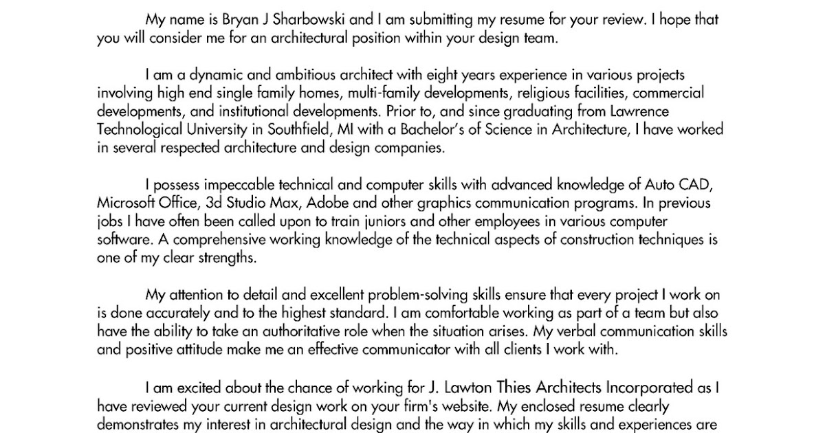 Architect Resume Samples Inspirational Cover Letter For Architecture