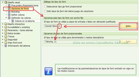 SAP GUI: Opciones de Fonts