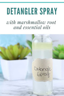 Make this diy hair detangler for children or adults.  This hair diy treatments has argan oil and marshmallow root to naturally detangle and defrizz hair diy.  This diy hair hacks will help you get softer and better looking hair naturally.  This easy recipe will help you get diy healthy hair.  This diy hair recipe gets out knots naturally for softer hair.  #diy #diyhair #marshmallowroot #herb #herbalbeauty #arganoil