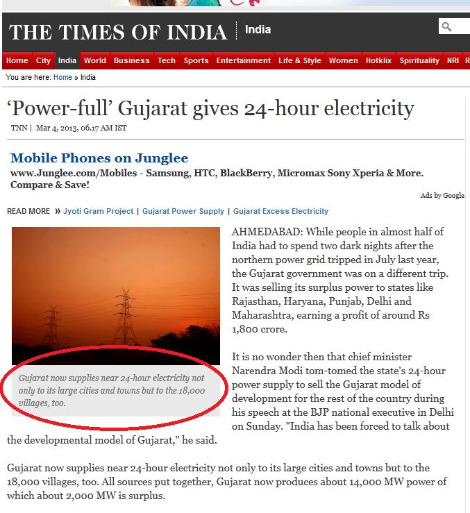 Modi Magic : Power-full' Gujarat gives 24-hour electricity