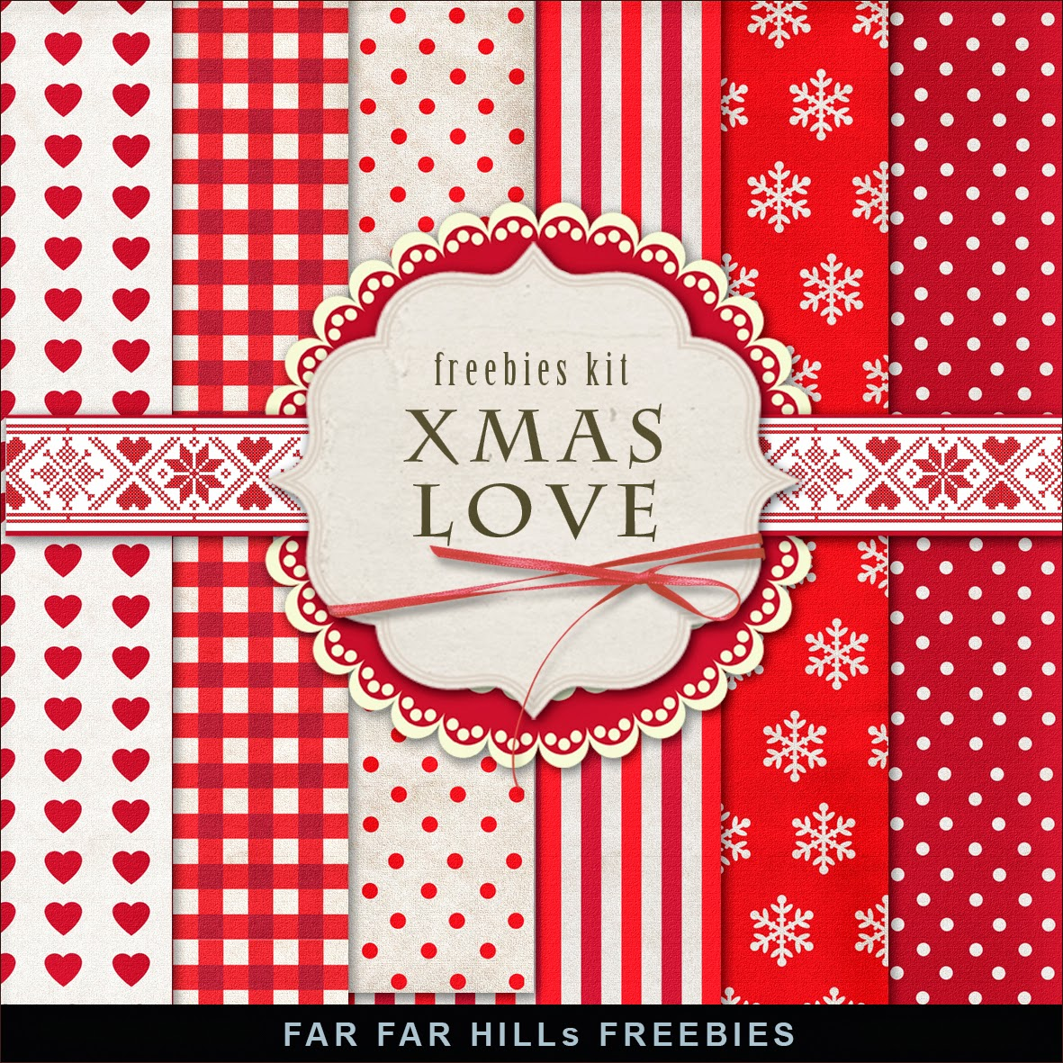 Freebies Kit of Winter Backgrounds - Xmas Love