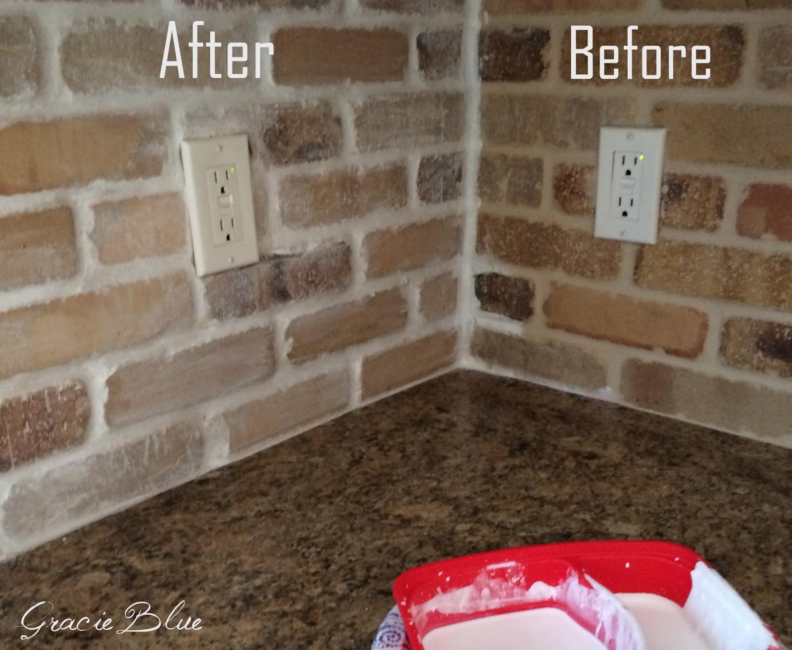 Gracie Blue DIY Whitewash Brick Backsplash and thinbrick source