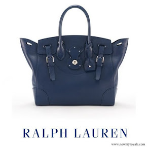 Crown Princess Victoria carried Ralph Lauren Navy Nappa Leather Soft Ricky Bag