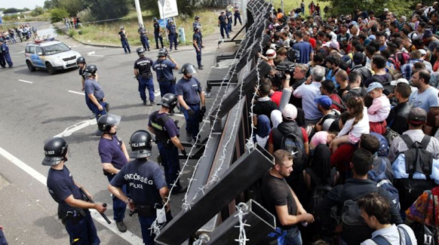 A photo of border security personnel and migrants at Hungary's southern border with Serbia.